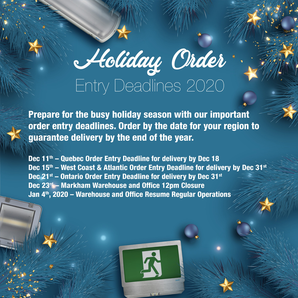 An E-blast image sent to update our customers on our holiday hours.